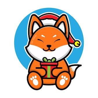 Cute fox with santa hat cartoon vector christmas concept illustration