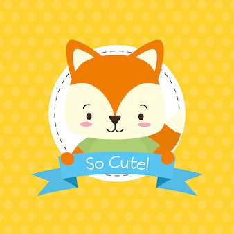 Cute fox with so cute ribbon, flat style