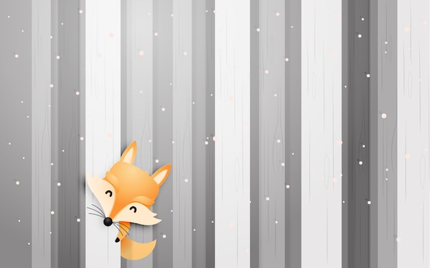 Cute fox in the wood with paper art style pastel scheme vector illustration