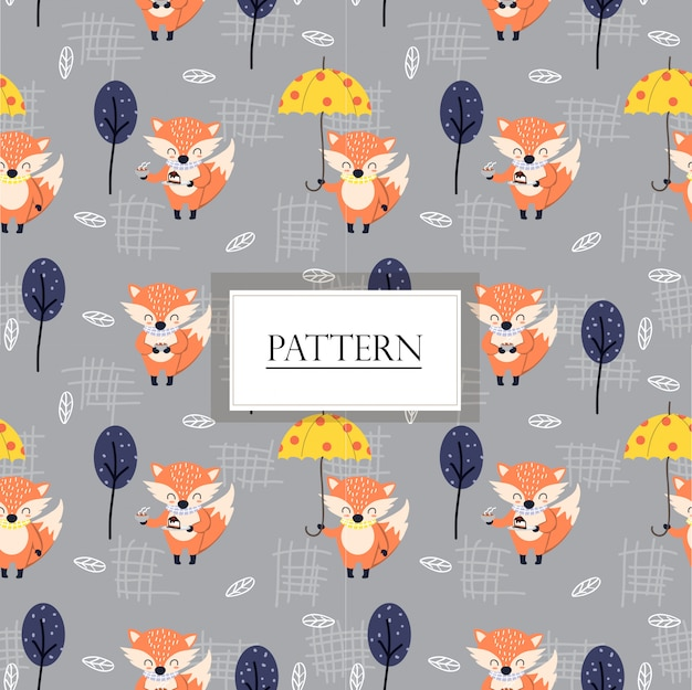 Cute fox in the woodland seamless pattern