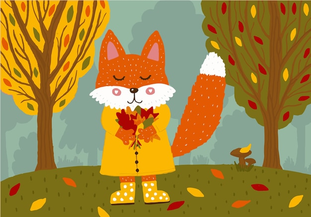 Cute fox in a yellow raincoat and rubber boots with a bouquet of autumn leaves in the forest.