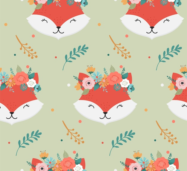 Cute foxes heads with flower crown seamless pattern