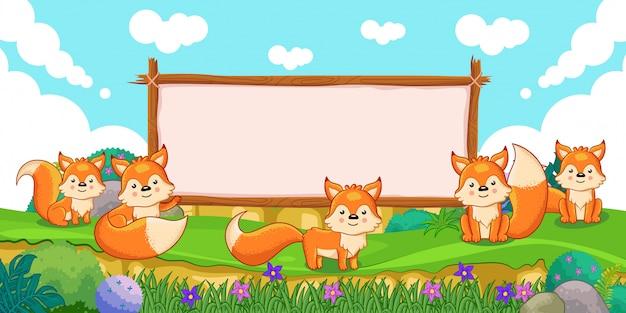 Симпатичные лисы с пустым знаком дерева