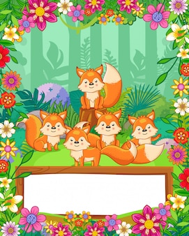 Cute foxes with flowers and wood blank sign in the forest. vector