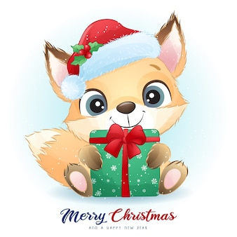 Cute  foxy for christmas day with watercolor illustration