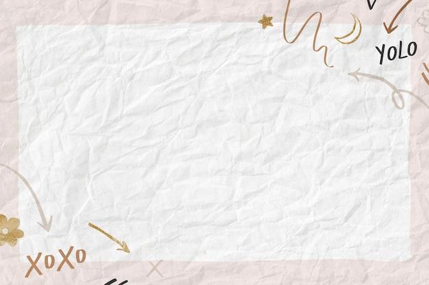 Cornice carina in stile scarabocchio su carta stropicciata