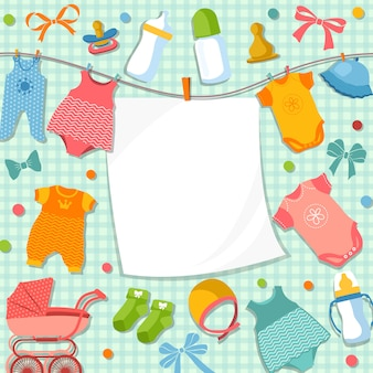 Cute frame for scrapbook new born baby