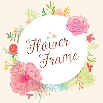 Cute frame with hand drawn flowers and watercolors