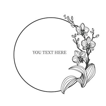 격리 된 흰색 배경에 난초와 귀여운 프레임