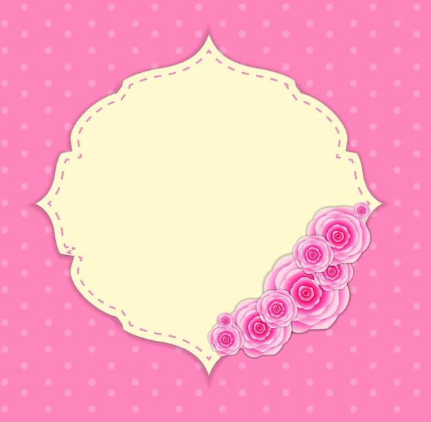 Симпатичная рамка с розовыми цветами векторные иллюстрации.