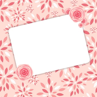 Cute frame with rose flowers vector illustration.