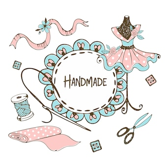 Симпатичная рамка с рюшами в стиле doodle с портновским манекеном.