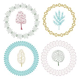 귀여운 프레임 설정합니다. 나무와 벡터 장식 요소입니다.