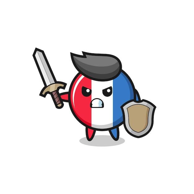 검과 방패로 싸우는 귀여운 프랑스 국기 배지 군인, 티셔츠, 스티커, 로고 요소를 위한 귀여운 스타일 디자인