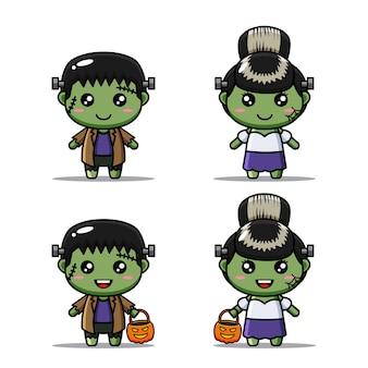 Набор персонажей хэллоуина с милым костюмом франкенштейна