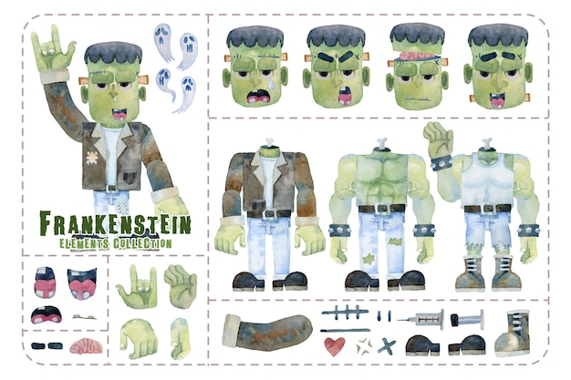 Cute frankenstein elements, dresses and expression, isolated halloween collection watercolor painting.