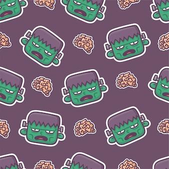 Cute frankenstein monster seamless pattern