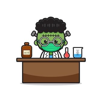 Cute frankenstein do science experiment cartoon icon illustration design flat cartoon style