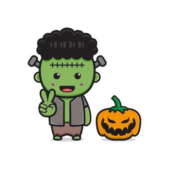 Cute frankenstein with pumpkin halloween cartoon icon illustration. design isolated flat cartoon style