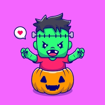 Cute frankenstein with pumpkin halloween cartoon icon illustration.