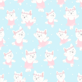 Cute french bulldog ballerina dance in pink dress seamless pattern on blue background