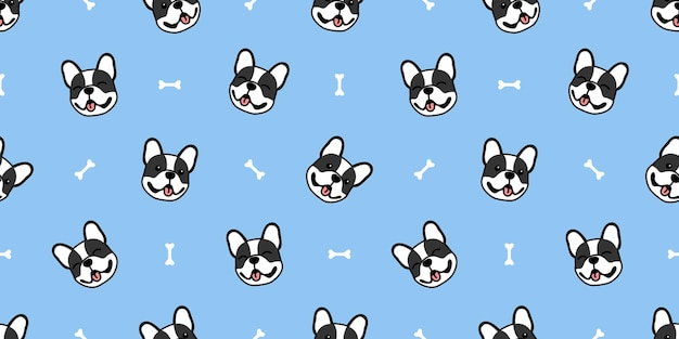 Cute french bulldog cartoon seamless pattern, vector illustration