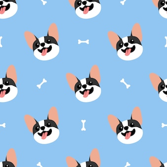Cute french bulldog face seamless pattern