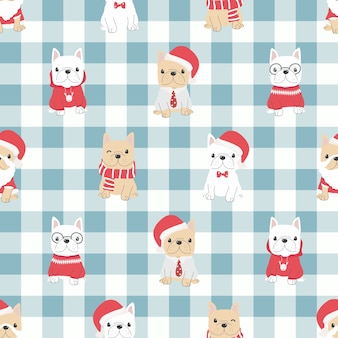Cute french bulldog puppy dog in christmas costume seamless pattern.