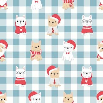 クリスマスの衣装のシームレスなパターンでかわいいフレンチブルドッグの子犬の犬。