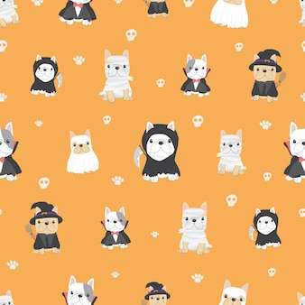 Cute french bulldog puppy in halloween costume seamless pattern