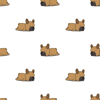 Cute french bulldog puppy sleeping seamless pattern
