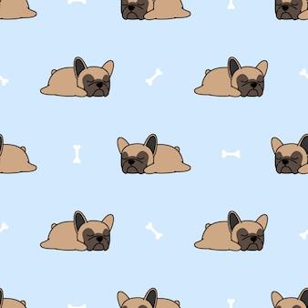 Cute french bulldog puppy sleeping seamless pattern