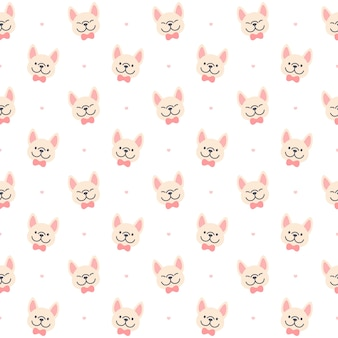 かわいいフレンチブルドッグシームレス背景繰り返しパターン、壁紙の背景、かわいいシームレスパターン背景