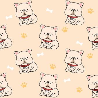 Cute french bulldog seamless pattern background