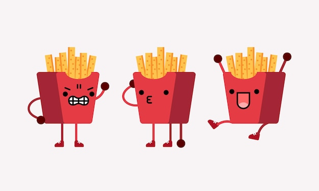 Cute french fries character mascot illustration with different pose and facial expression