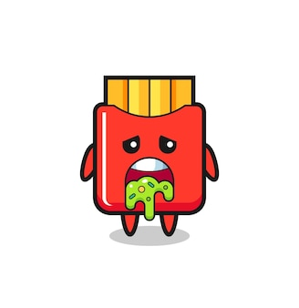 The cute french fries character with puke , cute style design for t shirt, sticker, logo element