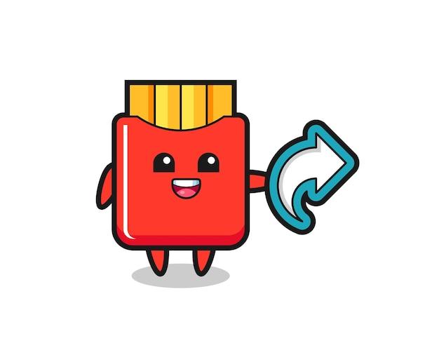 Симпатичный картофель фри держит символ доли в социальных сетях, милый стильный дизайн для футболки, стикер, элемент логотипа