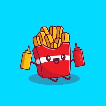 Симпатичные картофель фри, держа кетчуп и горчицу мультфильм значок иллюстрации. концепция значок мультфильм фаст-фуд изолированы. плоский мультяшном стиле