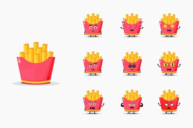 Симпатичный набор талисмана картофеля фри