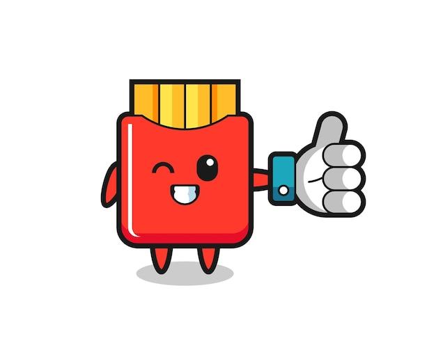 Симпатичный картофель-фри с символом больших пальцев в социальных сетях, симпатичный стильный дизайн для футболки, стикер, элемент логотипа