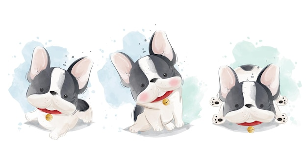 Cute frenchie set in different posititions
