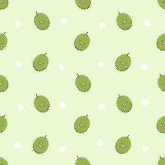 Cute fresh durian seamless pattern