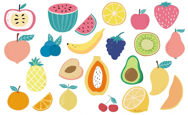 Cute fresh fruit object collection