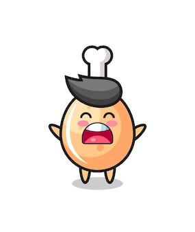 하품 표현이 있는 귀여운 프라이드 치킨 마스코트, 티셔츠, 스티커, 로고 요소를 위한 귀여운 스타일 디자인
