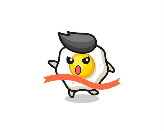 귀여운 계란 후라이 그림이 마무리에 이르고 있으며, 티셔츠, 스티커, 로고 요소를 위한 귀여운 스타일 디자인