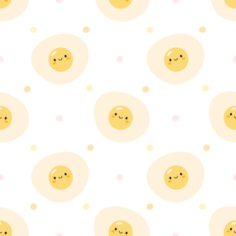 Cute fried eggs seamless pattern background