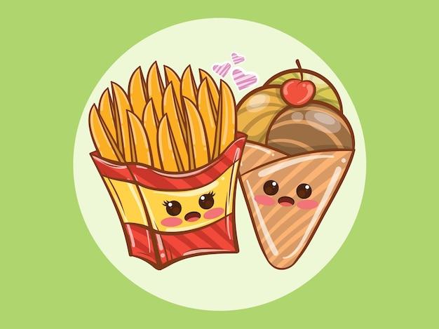 귀여운 감자 튀김과 아이스크림 몇 개념. 만화 캐릭터와 그림.