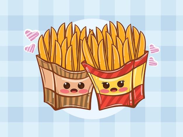 귀여운 감자 튀김 몇 개념입니다. 만화