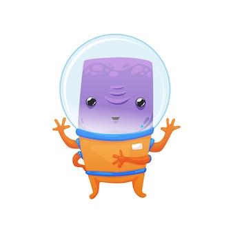 우주복을 입은 귀여운 친근한 보라색 외계인
