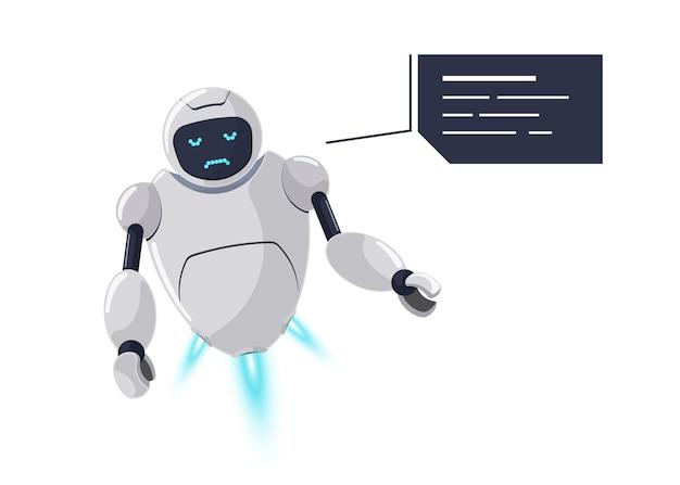 Симпатичный дружелюбный робот-персонаж грустный и расстроенный эмоции. футуристический белый талисман чат-бота безрадостный по ошибке с технологическим речевым пузырем. мультяшное онлайн-общение с ботом. обсуждение помощи роботизированному ии. eps
